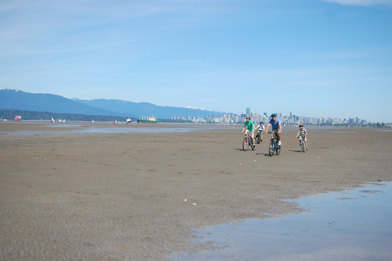 cycling along the beach, Spanish banks, Vancouver, low tide