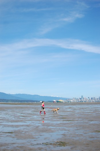 walking a dog, Spanish banks, Vancouver, low tide