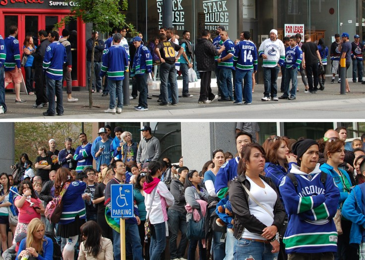 crowds watching the canucks