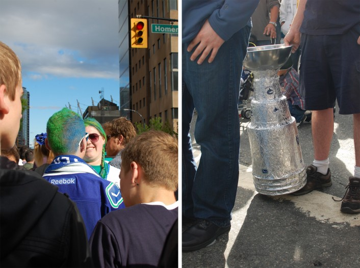 canuck colours and an imitation stanley cup