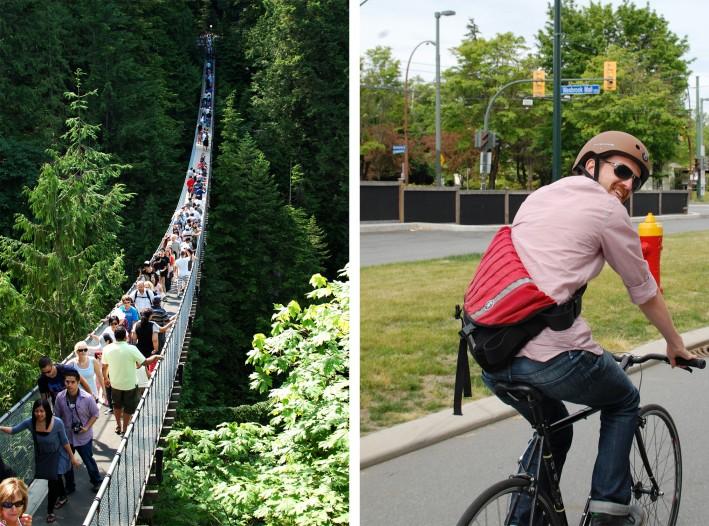Capiloano suspension bridge and mike on a bike