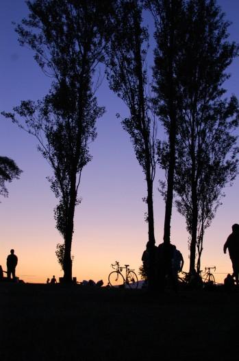 silhouettes at dusk, Vanier park vancouver