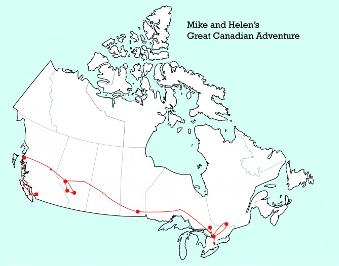 Canadian trip map